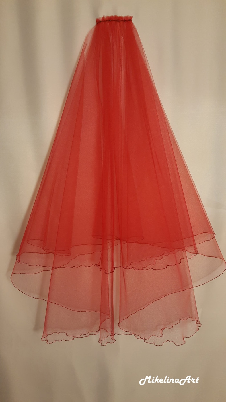 Red Wedding Veil Two Layers image 0