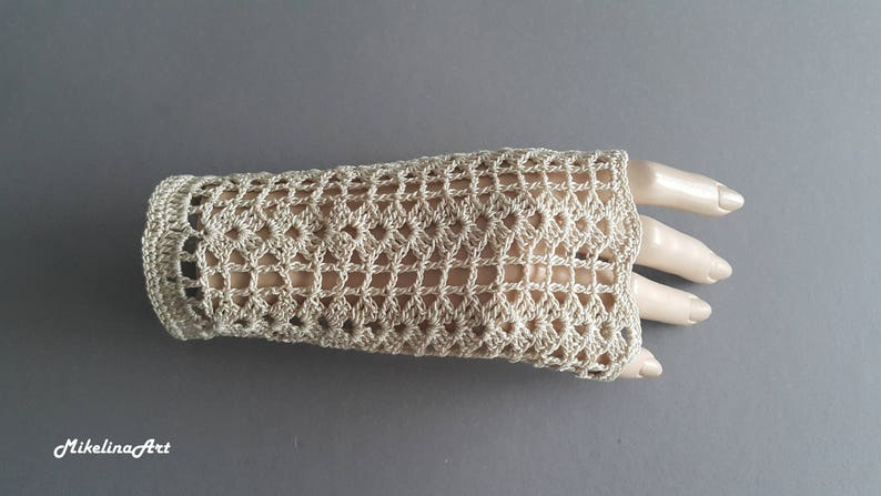 Crochet Mittens Fingerless GlovesLight Beige 100% image 0