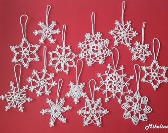 14 Crochet Snowflakes,Christmas Decorations,White, 100% Cotton.