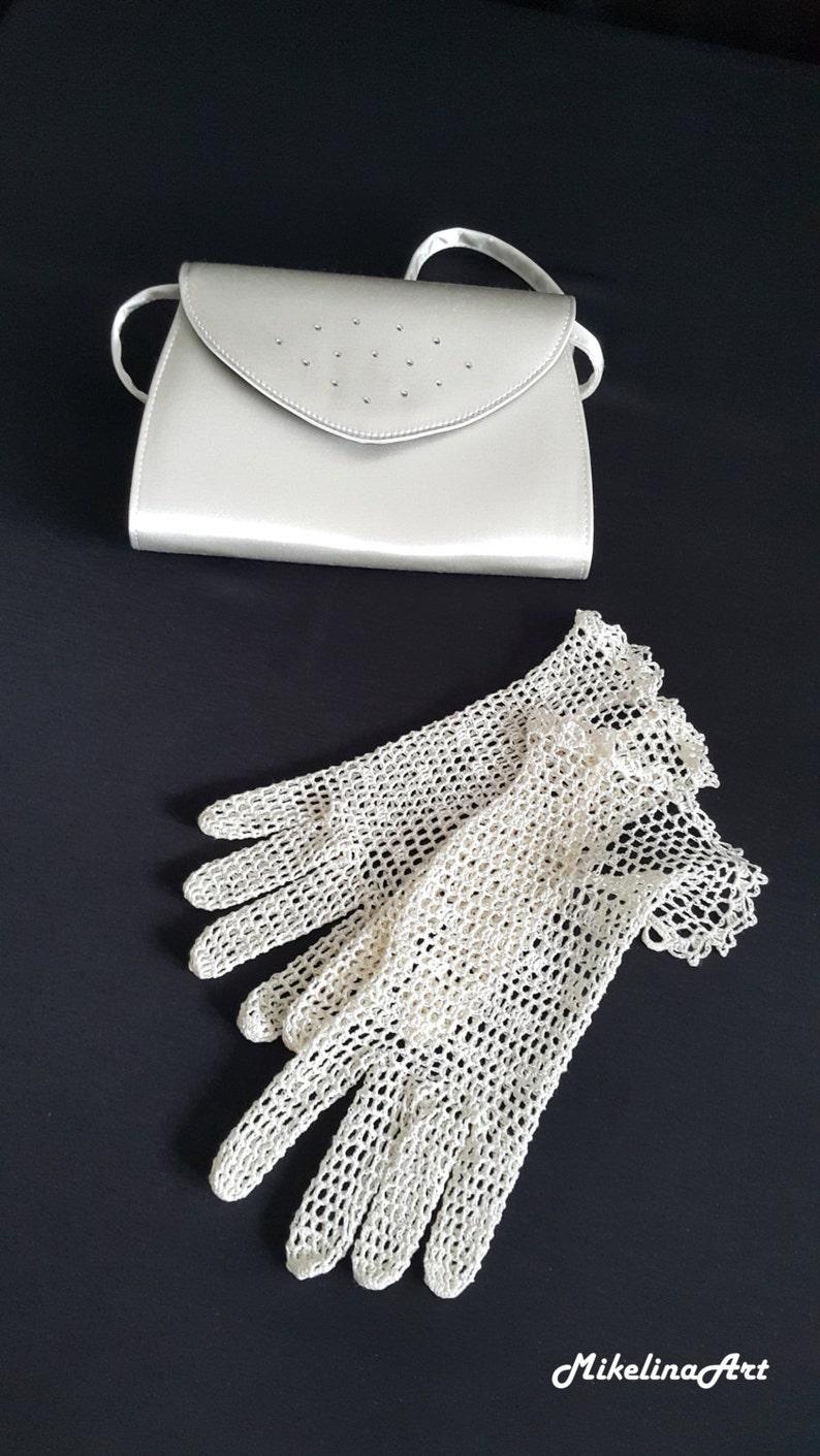 Bridal Crochet Gloves Light Ivory 100% Silk image 0