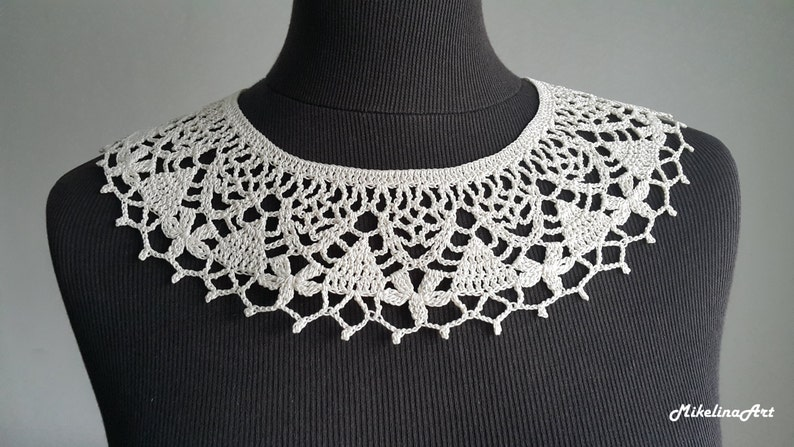 Handmade Crochet Collar Neck Accessory Ivory 100% Cotton image 0