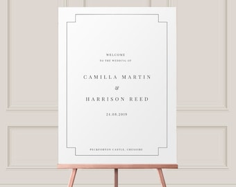 Minimalist Welcome Sign - Printable PDF  -  Simple Welcome Sign -  Welcome to Our Wedding Sign - Black and White - A2 A1 16x20 22x28