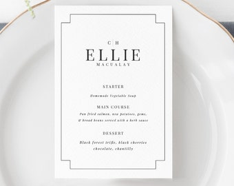 Place Card Menu's - Simple Wedding Menu - A6 - Printable Wedding Place Cards - Templett