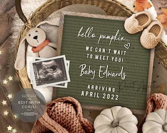 Digital Fall Pregnancy Announcement, Autumn Pregnancy Announcement, Editable Pumpkin Pregnancy Announcement YOU EDIT
