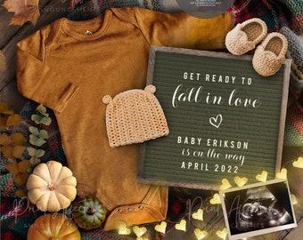 Digital Fall Pregnancy Announcement, Autumn Announcement, Editable Pumpkin Pregnancy Announcement, Thanksgiving YOU EDIT