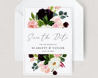 Burgundy and Blush Save the Date -  Editable - Burgundy Floral Wedding -  Templett Template - PDF Invitation - Autumn Wedding 5 x 7 - A6