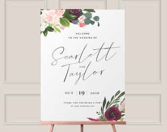 Editable Welcome Sign - Printable PDF  -  Burgundy Floral Watercolor Wedding -  Welcome to Our Wedding Sign - A2 A1 16x20 22x28