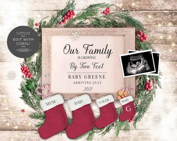 Editable Digital Family Christmas Pregnancy Announcement for
