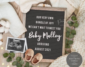 Digital Pregnancy Announcement Letter Board for Social Media, YOU EDIT, neutral baby announcement