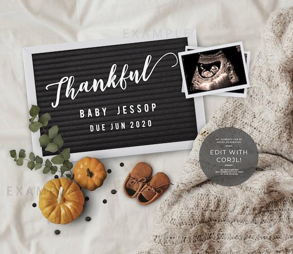 Editable Autumn Fall Pregnancy Announcement Thanksgiving