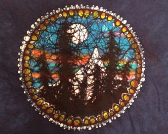 2xl. Blue tree silhouette batik t shirt