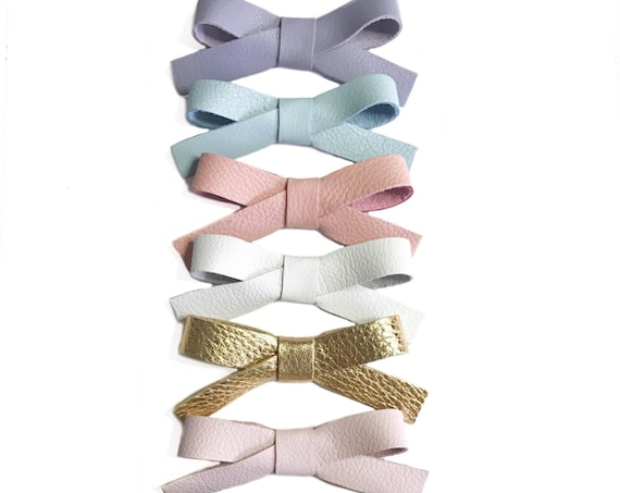 School Girl Bow, nylon bow, girl hair clips, gold barrette, baby pink bow, navy clip, school, leather bows,white bow, baby girl,toddler clip