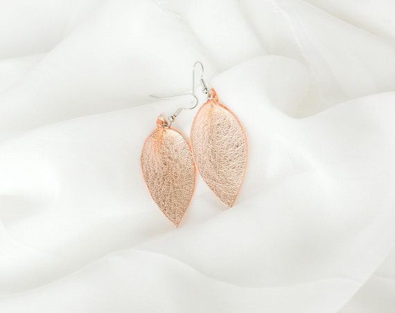 Rose Gold Small Leather Earrings. Handmade Jewelry.