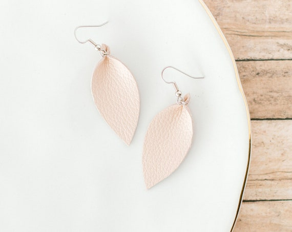 Neutral Small Leather Earrings in Nude or Brown
