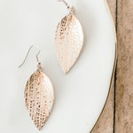 Rose Gold Leather Teardrop Earrings. Mothers Day gift personalized. Leather Leaf earrings rose gold sparkle