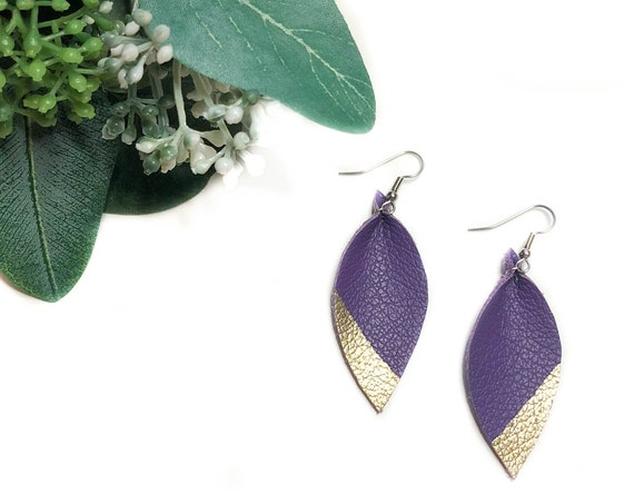 LSU purple and gold leather earrings