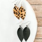 Womens small leopard print leather earrings, black teardrop leather earrings, animal print, gold leather earrings,