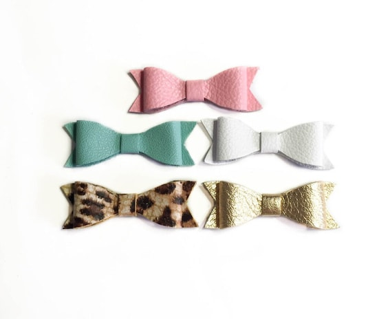 Small Leather no Slip baby bows, set of five