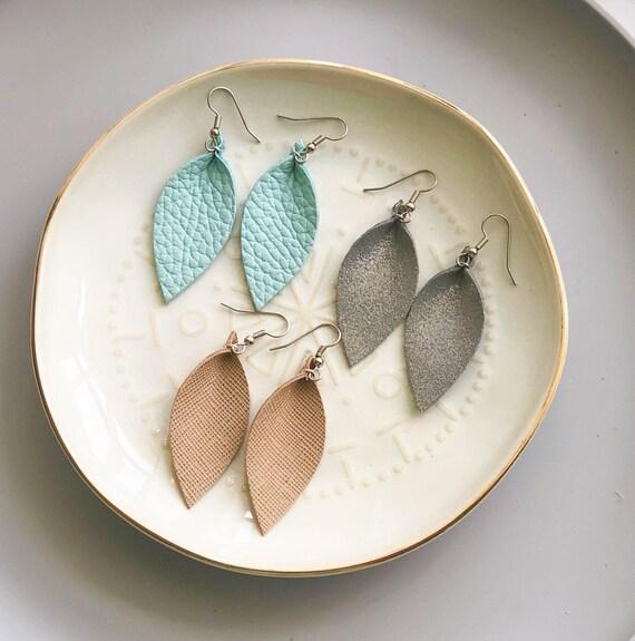 Leather earrings teardrop small. womens neutral small leather earrings. mint, gray or tan leather earrings. handmade leather earrings