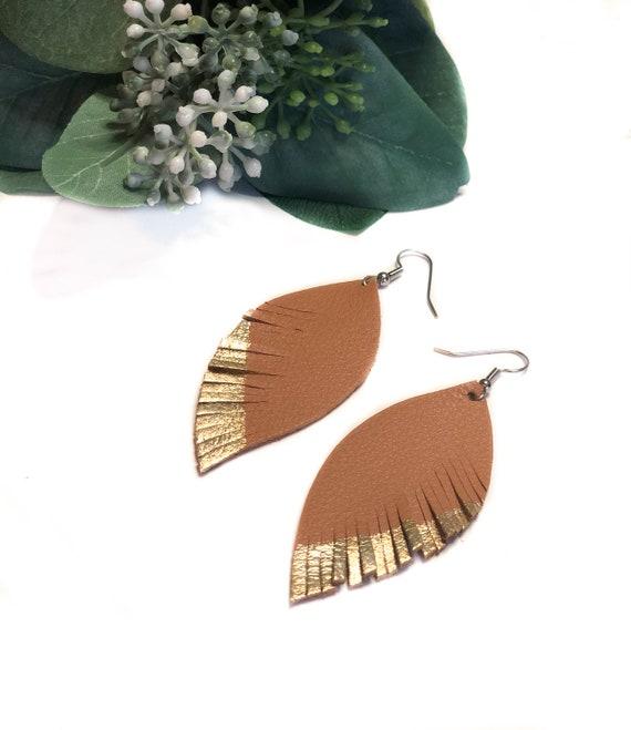 Feather Earrings- leather earrings- statement jewelry- teardrop leather earrings- feather painted earrings- leaf earrings- camel earrings
