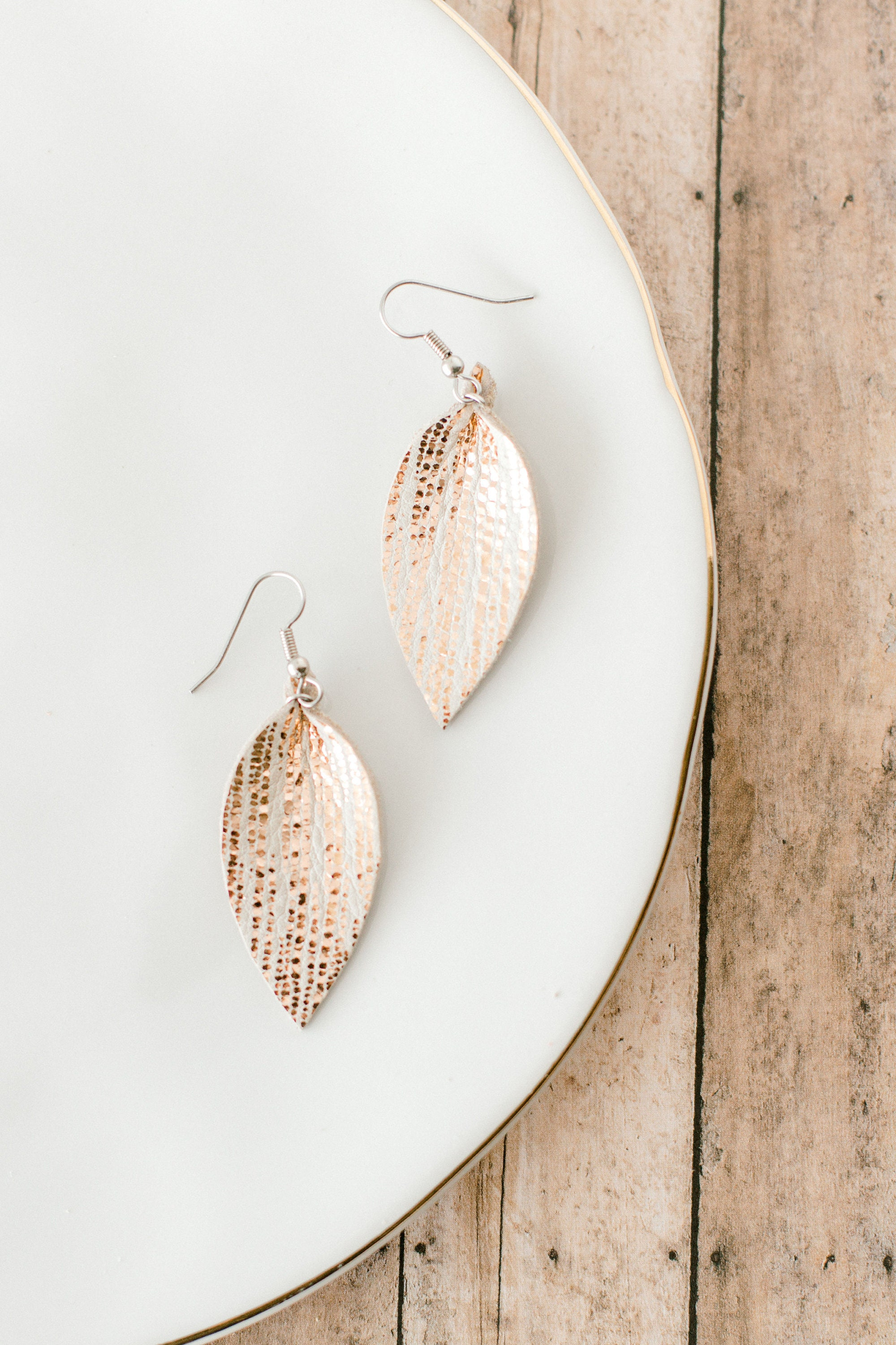 Rose Gold Teardrop Leather Drop Earrings Mothers Day Birthday Gift