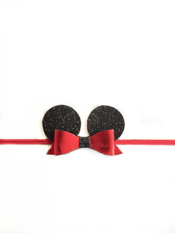 Red Minnie mouse ears, disney ears, baby headbands or leather hair bow