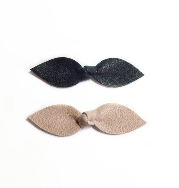 Baby Leather Knot Hair clips in black and Nude