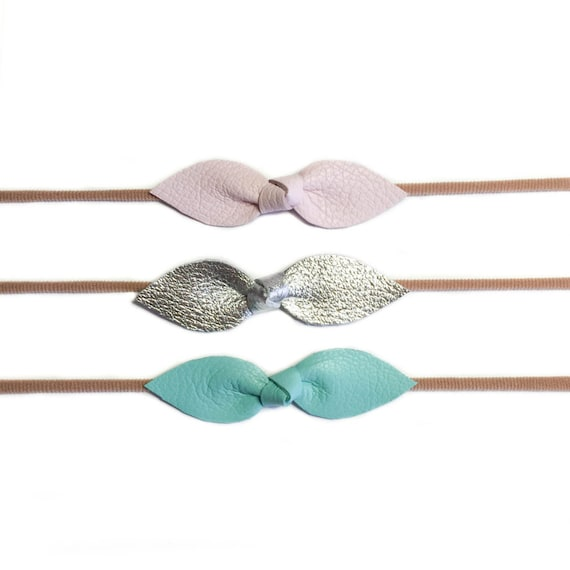 Leather Knot bows on nylon headbands or hair clips