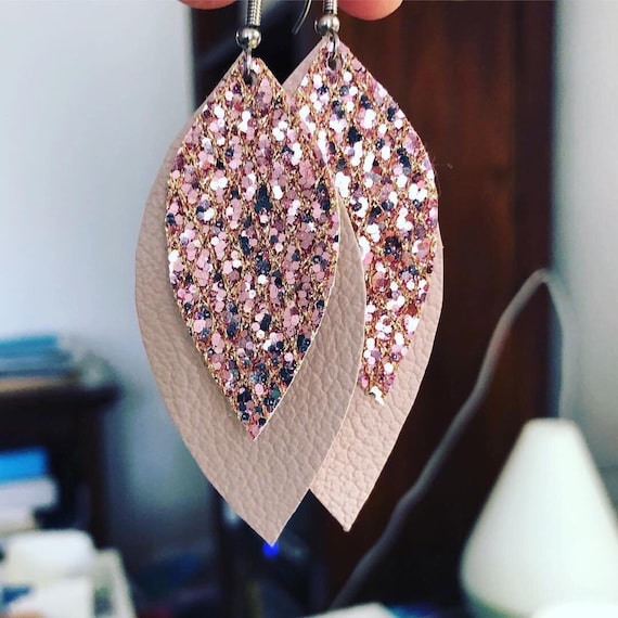 Double layer Rose Gold leather leaf Earrings with sparkle center