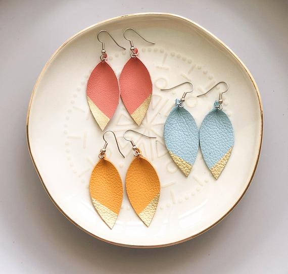 Leather earrings teardrop small. womens neutral small leather earrings. mustard, coral and light blue leather earrings. leaf leather earring