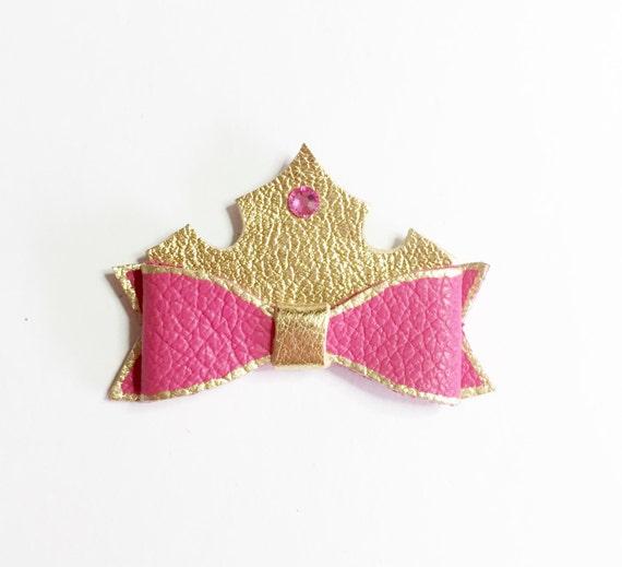 Disney princess bow, princess aurora, sleeping beauty, hair bows for disney, birthday hair bow, handmade, pink girl hair bow, fushia