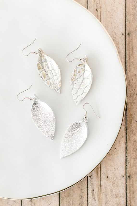 Leather teardrop earrings in silver and white alligator print