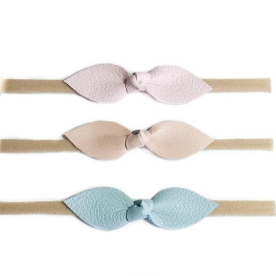 Leather Knot Baby headband set