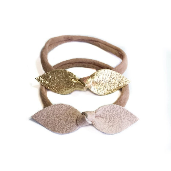 Baby Leather Headbands in gold and blush nude