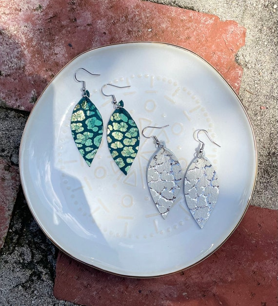 Limited Edition Leather Earrings set of 2