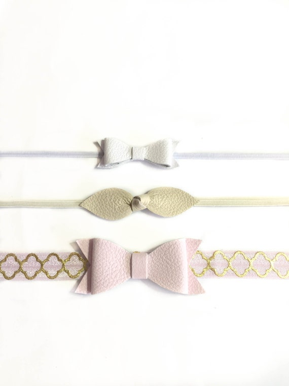 Baby Headbands, newborn headbands, baby pink bow, white baby headband, ivory bow, leather bows, headbands, newborn, baby girl accessories