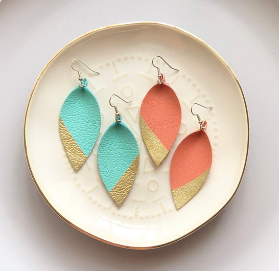 Large Leather Spring Earrings in mint or coral. Hand Painted with gold tip.