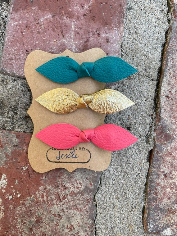 Leather Knot Hair clips, set of three