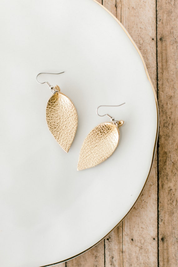 Gold Leaf Leather Earrings, small leather earrings, womens jewelry, gold leather, handmade earrings, leaf shaped gold, drop leaf earrings