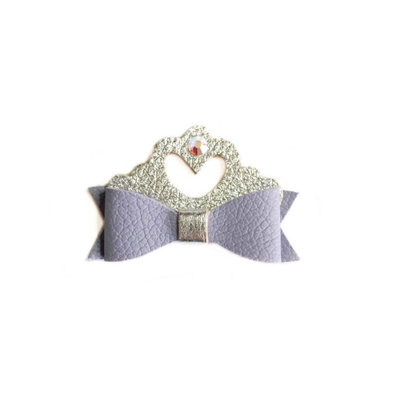 Princess Sofia hair bow, disney bows, sofia the first, light purple leather bow, lilac bow, princess bow, handmade bows, leather