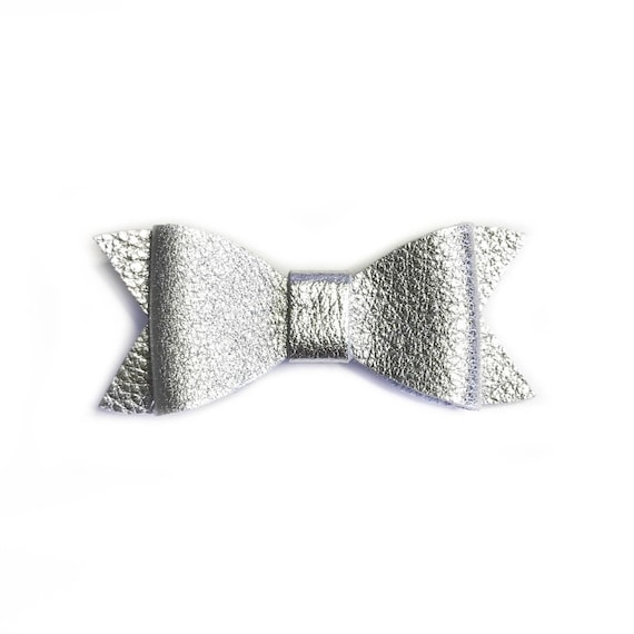 Baby silver leather hair bow