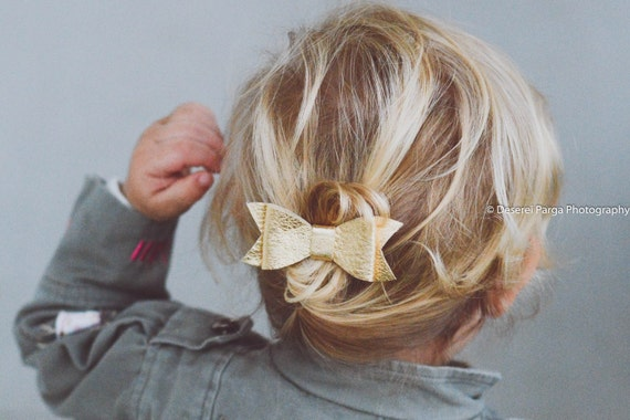 Gold Baby Leather Hair Clip