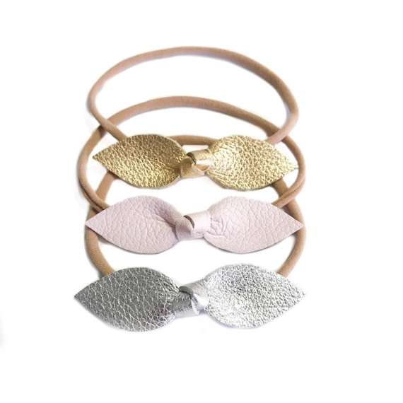 Newborn leather baby headbands in baby pink, gold and silver- set of three