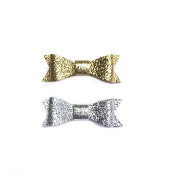 Mini Leather Hair Bows in silver and gold