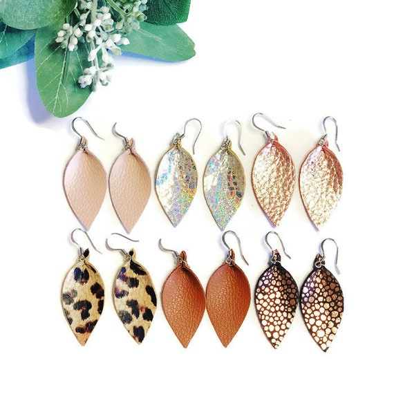Small Leather earrings for women. Choose your own color