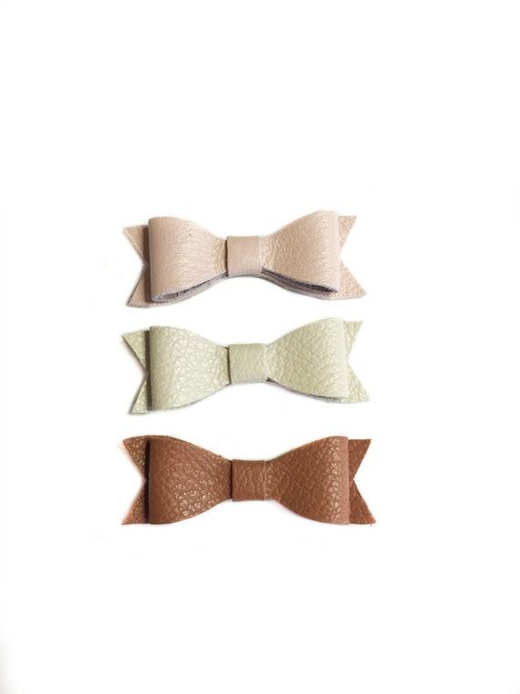 Mini Leather neutral Bow Set: nude, ivory and caramel