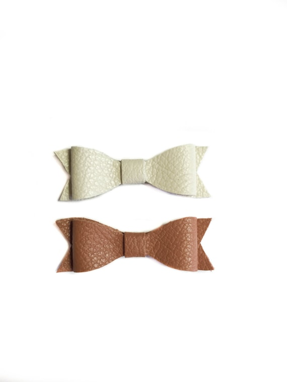 Neutral Baby Hair Bow set: ivory and caramel