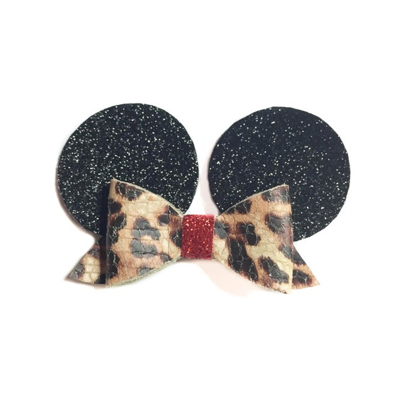 Leopard Print Minnie Mouse Inspired Hair bow