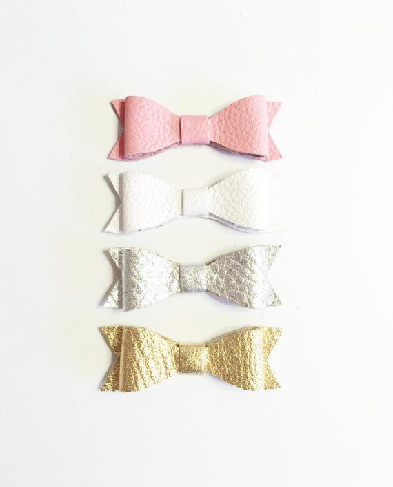 Baby Girl Leather Hair bows: pink, gold, silver and white