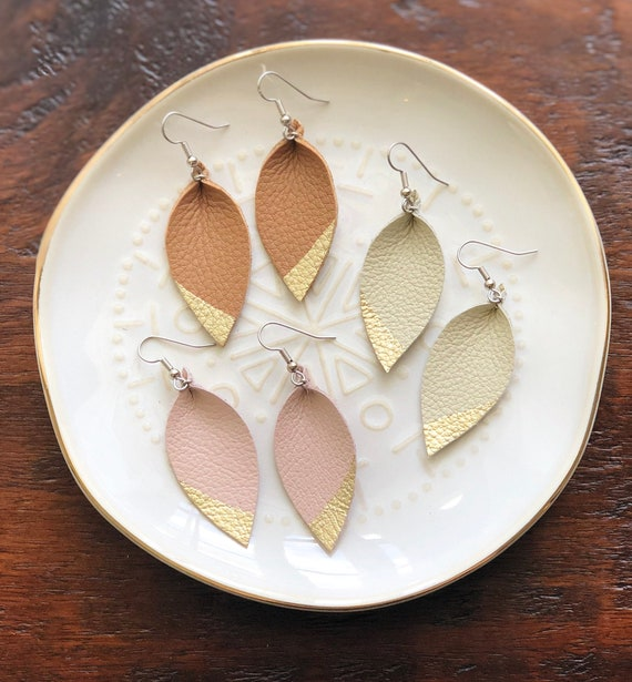 Small Leather Teardrop earrings in ivory, camel or nude with hand painted gold tip